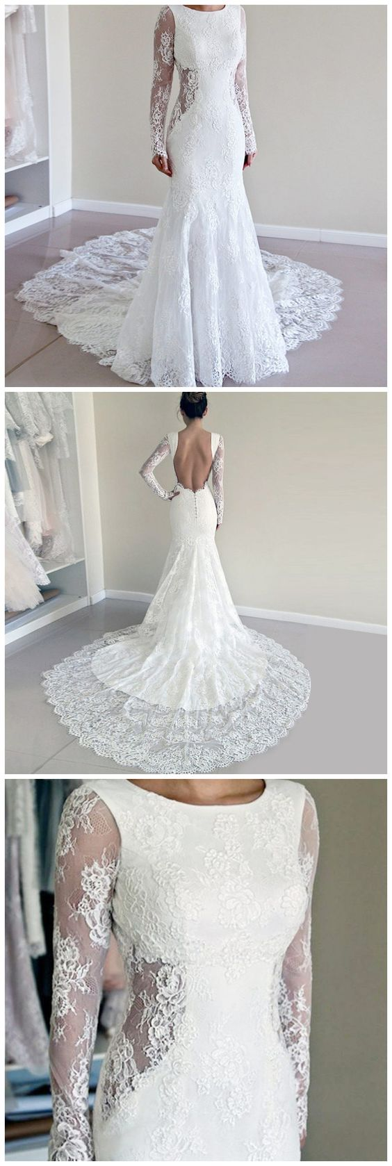 Mermaid Round Neck Long Sleeves Backless Lace Wedding, D0019