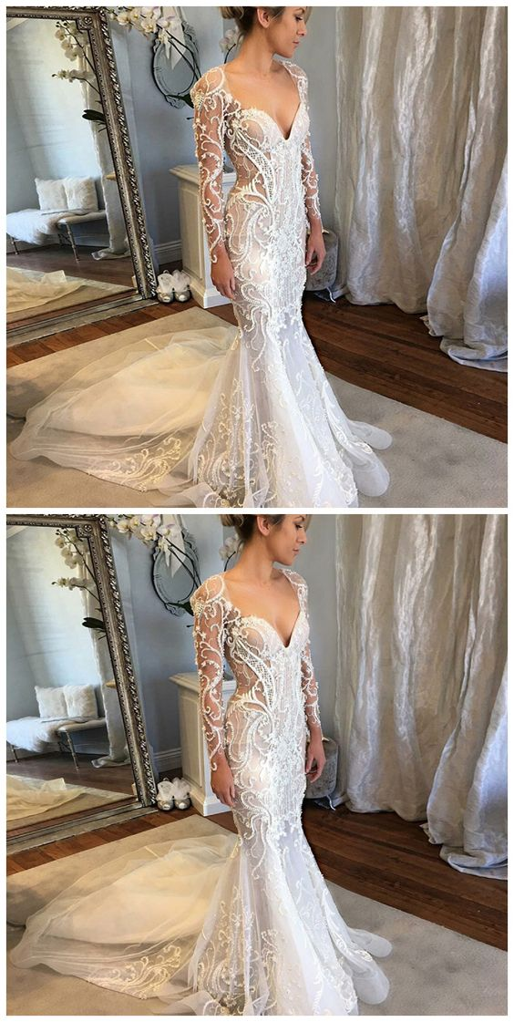 Mermaid V-Neck Long Sleeves Court Train Lace Wedding, D0020