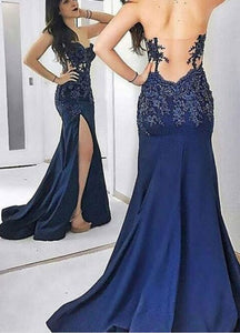 Strapless Mermaid Dark Royal Blue Prom Dresses With Appliques Split Side, D0022