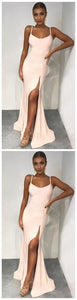 Mermaid Spaghetti Straps Floor-Length Pearl Pink Prom Dress with Split, D0023