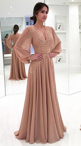 Dusty Pink , Chiffon Prom Dress, , Lace Applique Prom Dress, A Line Prom Dress, Vestido De Festa, Long Sleeve Prom Dress, Vintage Prom Dress,D0026