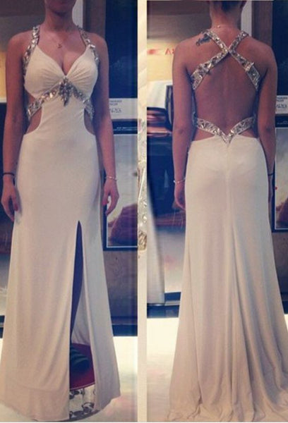 Split Front Beading Straps Backless Prom Gowns,Prom Dresses, D0027