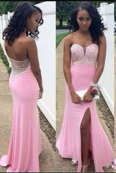 Gorgeous Mermaid Sweetheart Sleeveless Chiffon Long Prom Dress,D0030