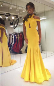 Gorgeous Halter Yellow Prom Dresses,Mermaid Long Prom, D0036