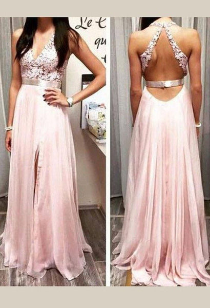 Charming Deep V Neck Prom Dress, Appliques, D0037