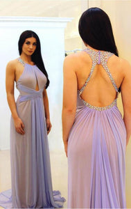 Sexy Halter Neck Keyhole Back Beaded Chiffon Prom, D0038