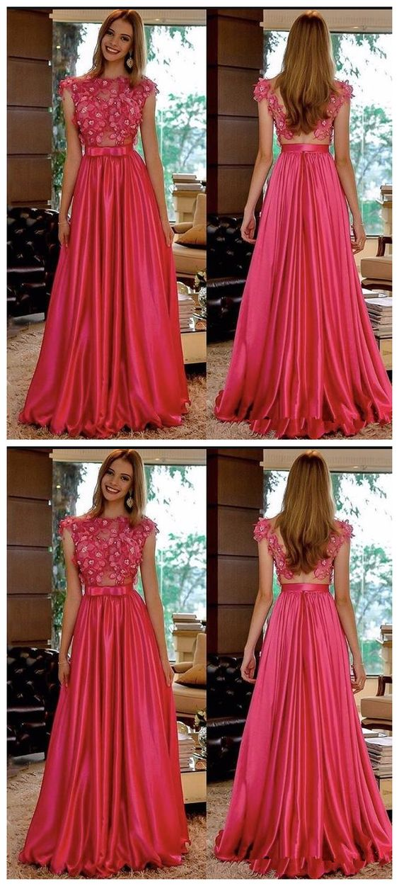 New Hot Open Back A-Line Prom Dresses Appliques Beaded Evening Dress Long Formal Party Dress, D0041