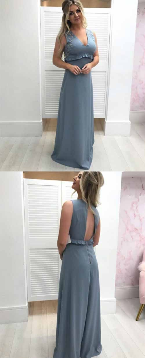Sleeveless A Line Chiffon Prom Dresses, Sexy Long Evening Dress, D0045