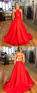 Sexy Red Backless A Line Prom Dresses, Long Satin Evening Dress,D0046