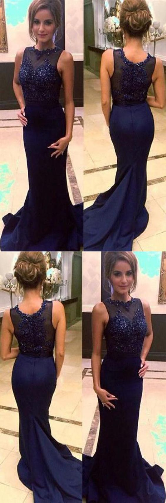 Charming Navy Blue Beaded Mermaid Prom Dresses, Elegant Appliques Formal Evening Dress, D0047