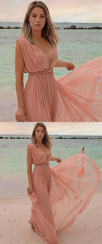 Sexy V Neck Chiffon Beach Long Prom Dresses,D0048