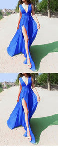 Sexy Split Slit Chiffon Evening Dress, Deep V Neck Blue Prom Dress, Long Party Dress, D0049