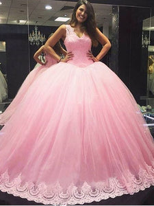 Elegant Tulle Pink Quinceanera Dresses, Forml Appliques Lace Prom Dress, Sweet 16 Dresses, D0056
