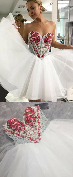 Sweetheart neck Tulle Prom Dress, Short Homecoming Dresses with Beading, D0057