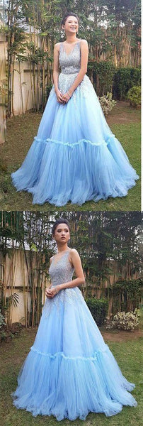 Sky Blue Tulle Long Prom Dress, Elegant Appliques Evening Dress, Formal Gown, D0058