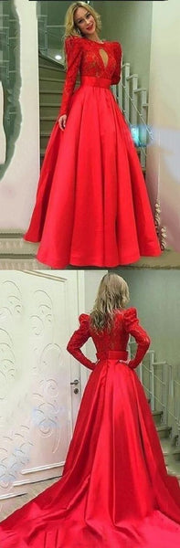 Appliques Full Sleeve A Line Evening Dress, Formal Long Prom Dresses, D0059