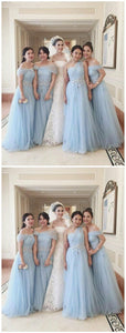 Vintage Sky Blue Tulle A Line Bridesmaid Dress, Charming Wedding Party Dress, D0064