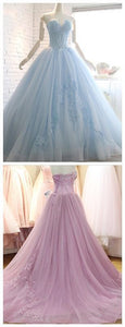 Vintage Tulle Light Blue Appliques Quinceanera Dress, Elegant Ball Gown Prom Dresses, Formal Evening Dress, D0065