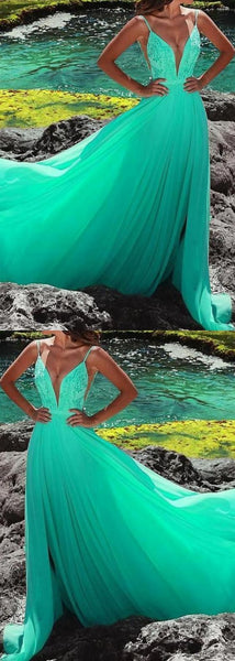 Sexy Spaghetti Straps Green Lace Long Prom Dress, Sexy Deep V Neck Green Evening Dress, D0066