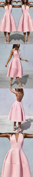 Sexy Backless Pink Tea Length Party Dress Prom Dresses, D0068