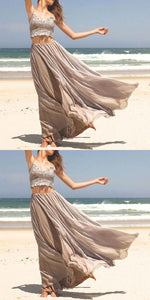 Stylish Prom Dress Two Piece Prom Dresses, A-Line Spaghetti Straps Long Prom Dress With Lace, D0070
