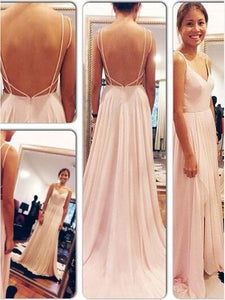 V neck Backless Spaghetti Strap Long Chiffon Prom Dresses Floor Length Evening Dress, D0074