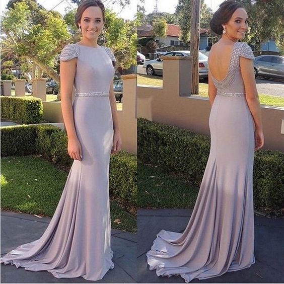 Sexy Prom Dresses,Cap Sleeve Evening Dress With Beaded,Open Back Prom Dress,Women Dress, D0083