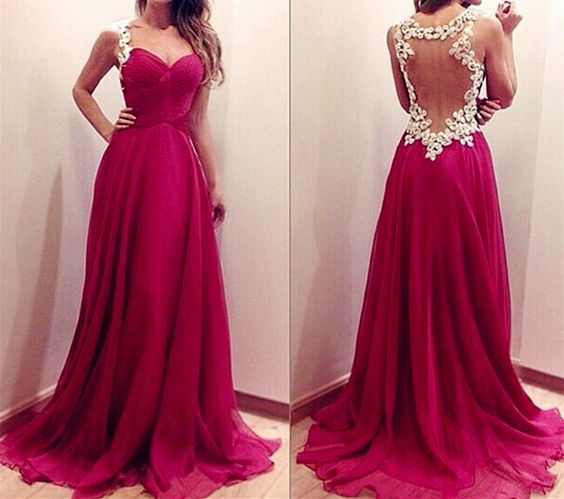 Appliques A Line Chiffon Formal Woman Evening Dress , D0084