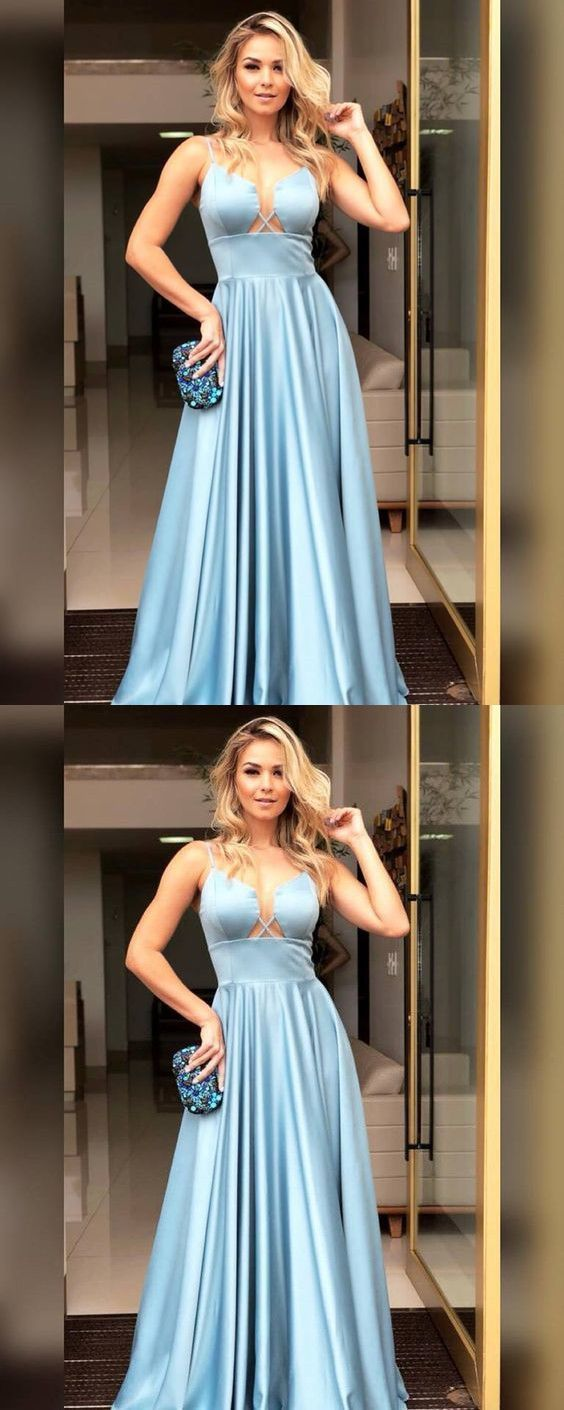 Sexy Blue Satin Simple Prom Dress, Long Evening Dress, D0091