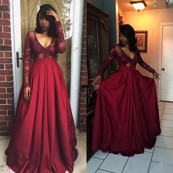 Burgundy Prom Dresses Long Sleeve Applique Floor Length Prom Gowns Formal Gowns, D0095