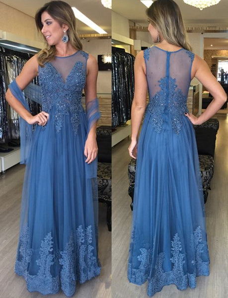 Elegant Prom Dress,Long Evening Dress,Appliques And Lace A Line Evening Dresses,Sleeveless Formal Evening Gown,Women Dresses, D0097