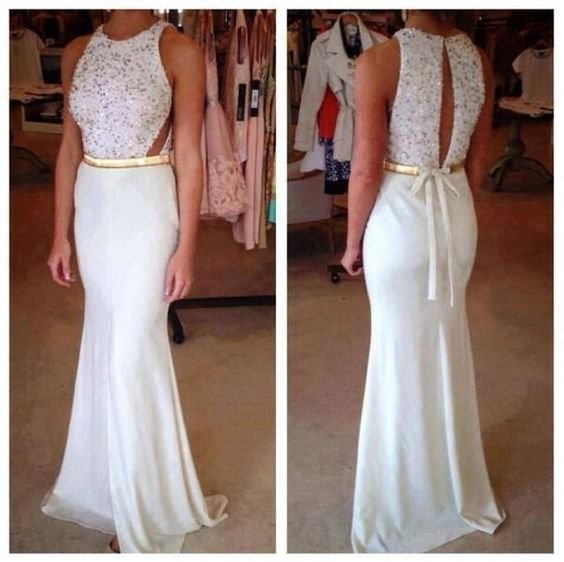 New Design Chiffon White Prom Dress,Mermraid Prom Gown Dress,Halter Evening Dress,Formal Dress,D0100