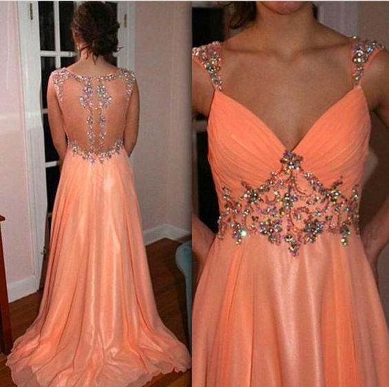 Prom Dresses With Sleeveless Appliqued Chiffon Sequins Beaded,D0103