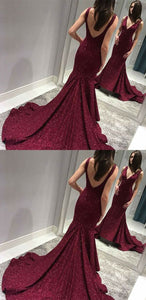 Sexy V-Neck Backless Mermaid Prom Dresses,Long Prom Dresses,Cheap Prom Dresses, Evening Dress Prom Gowns, Formal Women Dress,Prom Dress, D0135