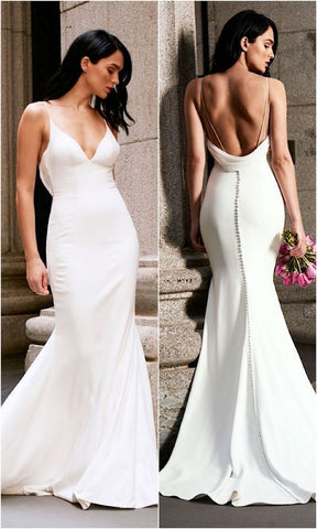 Mermaid Wedding Dress Long White Backless Sweep Train Sleeveless Deep V-neck, D0143