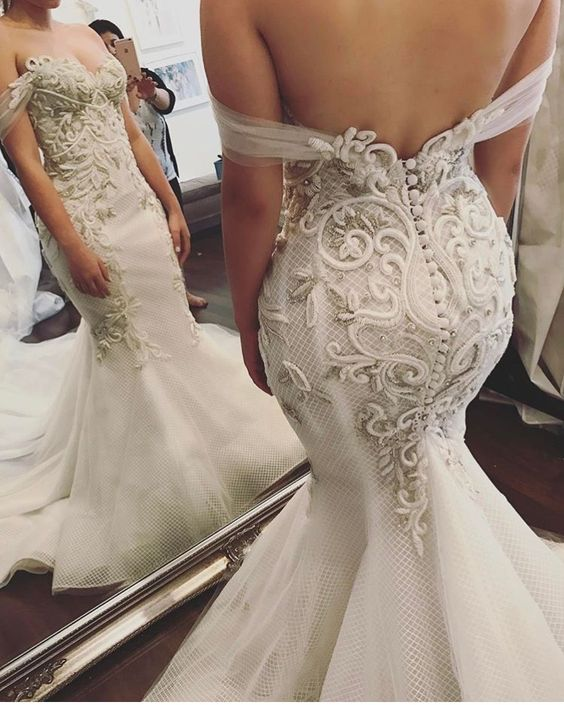 Elegant Mermaid Lace Wedding Dress Sheer Off Shoulder Applique Tulle Bridal Gown, D0147