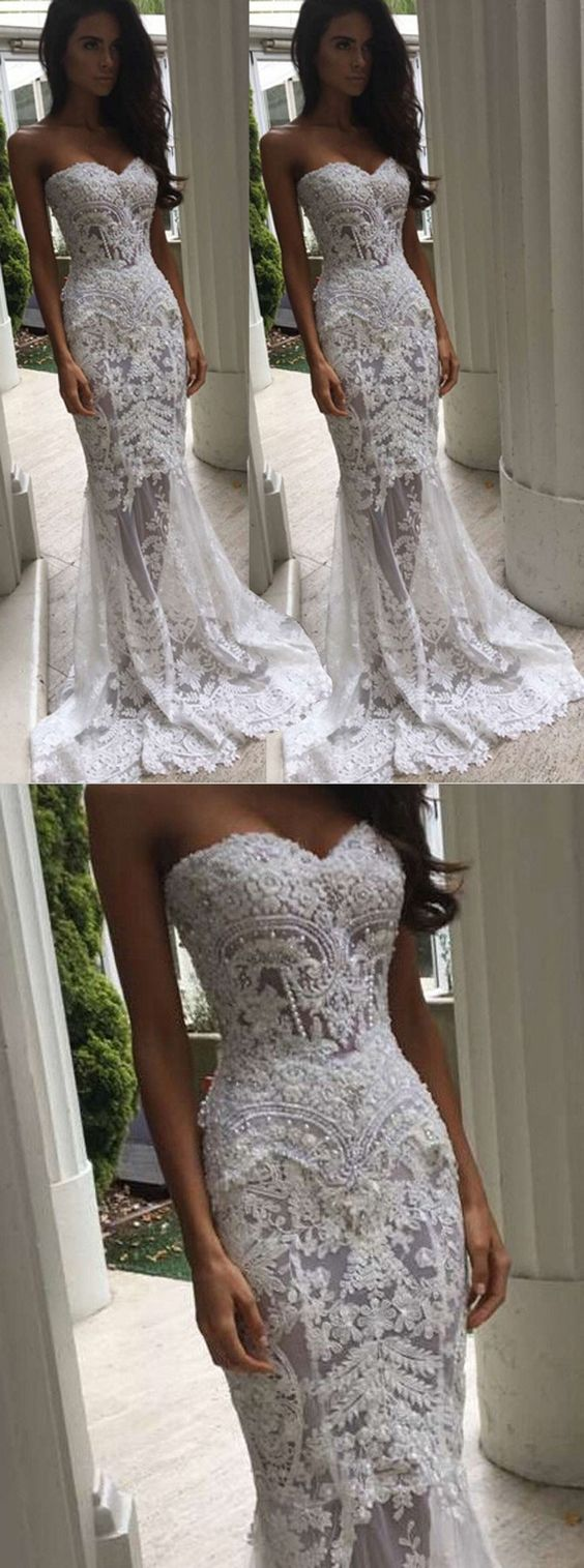 Trendy Sweetheart Sweep Train Mermaid Lace Wedding Dress with Pearls, D0149
