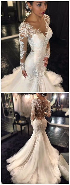 Trumpet/Mermaid V-neck Long Sleeves Lace Court Train Tulle Wedding Dresses, D0151