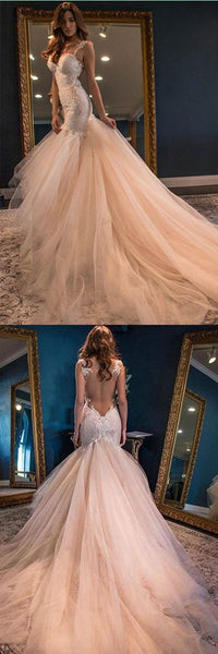 Elegant Mermaid Sweetheart Watteau Train Wedding Dresses , D0152