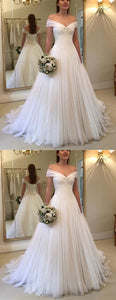 Elegant Pleated Tulle V-neck Off Shoulder Princess Wedding Dresses, D0153