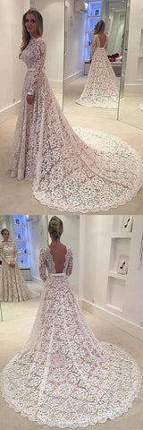 Elegant A-line Lace Backless Wedding Dress With Court Train , D0154