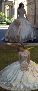 Gold Lace Embroidery Sweetheart Satin Ball Gowns Quinceanera Dresses, D0155