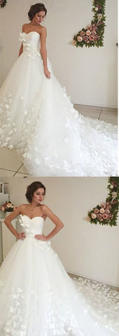Adorable Sweetheart Tulle A Line Court Train Off White Wedding Dress with Flower, D0157