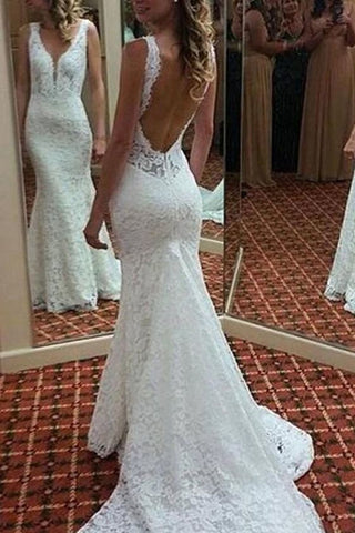 Elegant V Neck Backless Mermaid Lace Appliques Wedding Dress Sweep Train , D0158