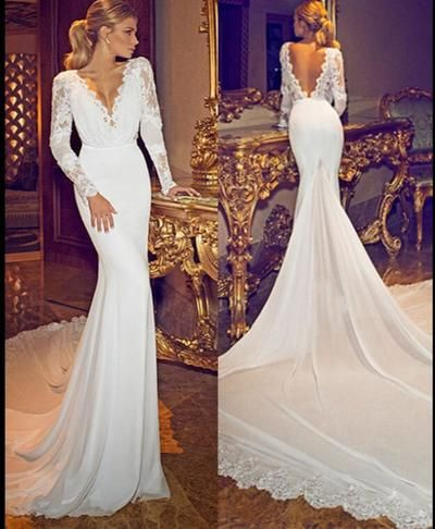 Chiffon Lace Deep V Neck Long Sleeves Wedding Gowns Open Back Sexy Lace Wedding Bridal Gowns, Chapel Train Long Sleeve Wedding Dresses, D0161