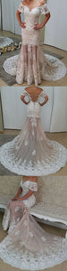Mermaid White Prom Dress Off the Shoulder Short Sleeves Long Evening Gowns , D0163