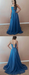 Casual Blue Chiffon Prom Dresses Spaghetti Straps Lace Up Long Party Gowns, D0165