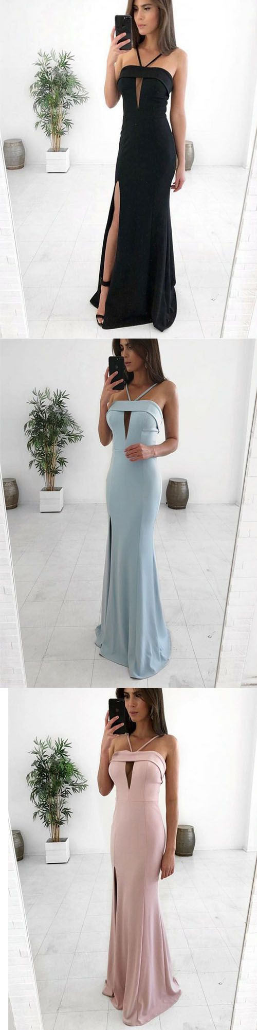 Sheath Spaghetti Straps Floor Length Satin Prom Dress with Split Keyhole, D0166