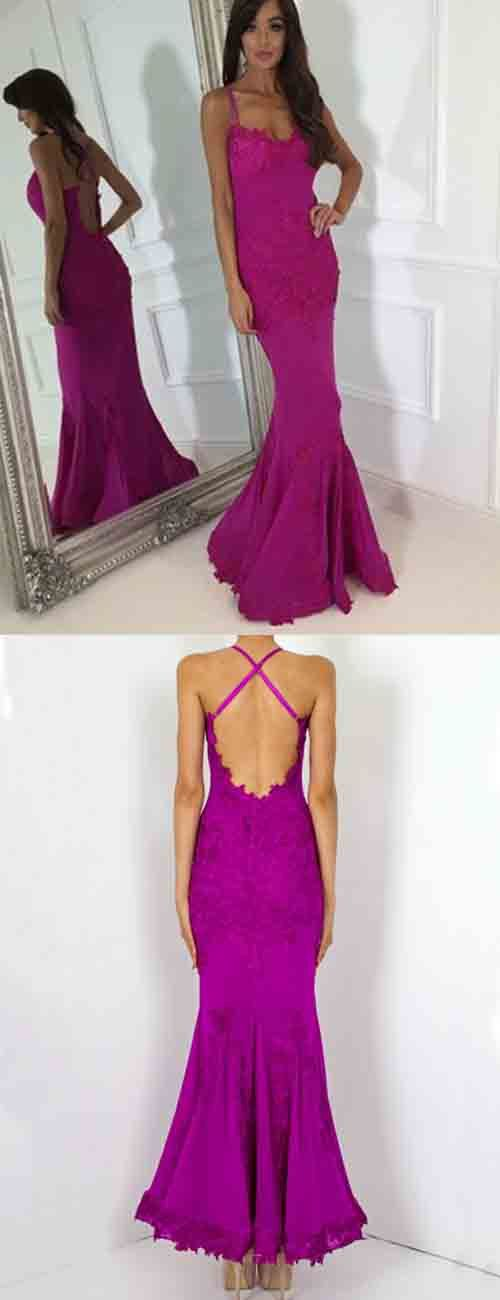 Sexy Mermaid Spaghetti Straps Long Fuchsia Satin Prom Dress with Appliques, D0167
