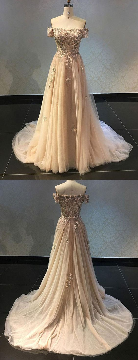 Luxurious A Line Off The Shoulder Champagne Long Prom Dress with Appliques, D0171